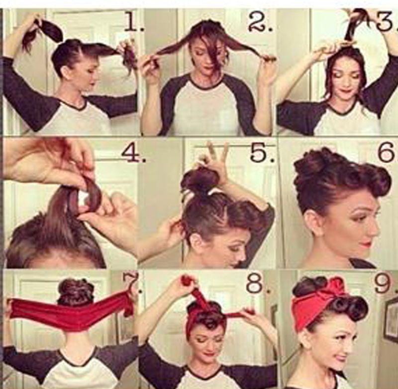 Unique Rockerbilly 1940s 1950s Lined Headband Fancy Dress Accessories Vintage Frisuren Frisuren Frisuren Mit Bandana