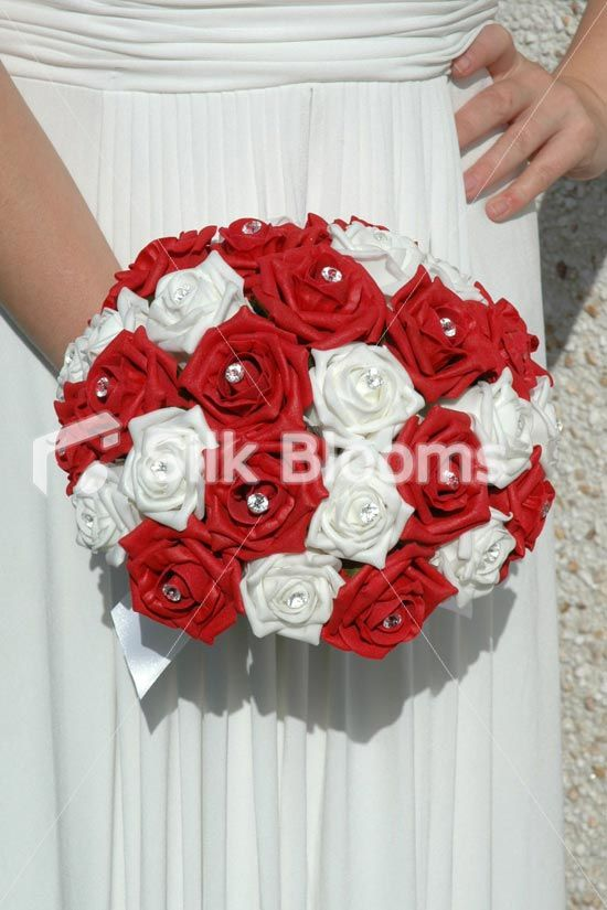 Large Red White Rose Hand Tied Brides Wedding Bouquet Flowers