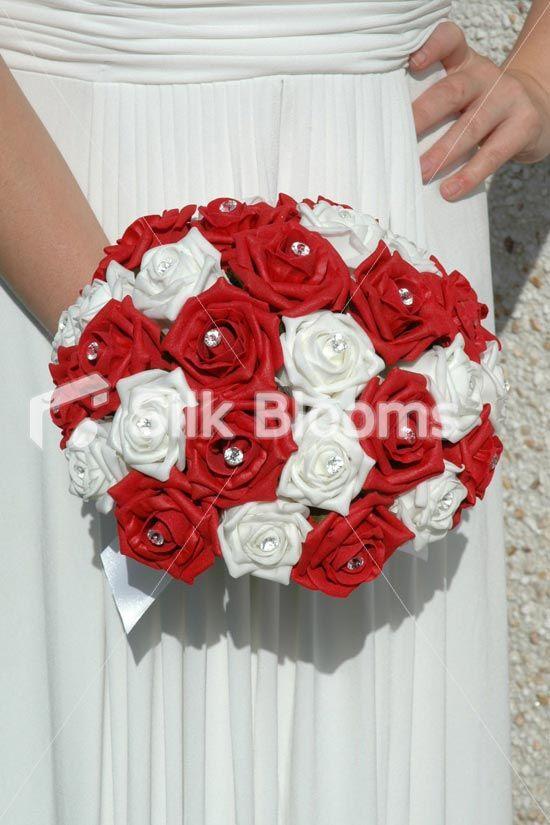 Large red white rose hand tied brides wedding bouquet flowers large red white rose hand tied brides wedding bouquet flowers mightylinksfo
