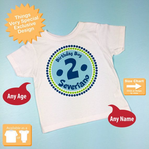 2nd Birthday Shirt Two Year Old Birthday Blue by ThingsVerySpecial