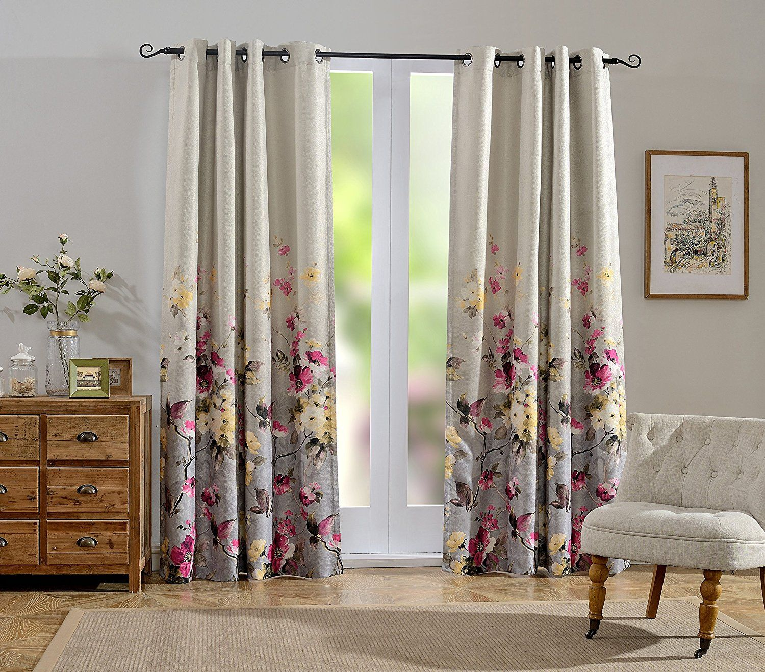 Mysky Home Floral Design Print Grommet Top Thermal Insulated Faux Linen Room Darkening Curtains For Livin Curtains Living Room Curtains Room Darkening Curtains