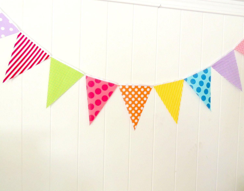Candy Land Bunting, Banner, Fabric Pennant Flag Garland, Birthday ...