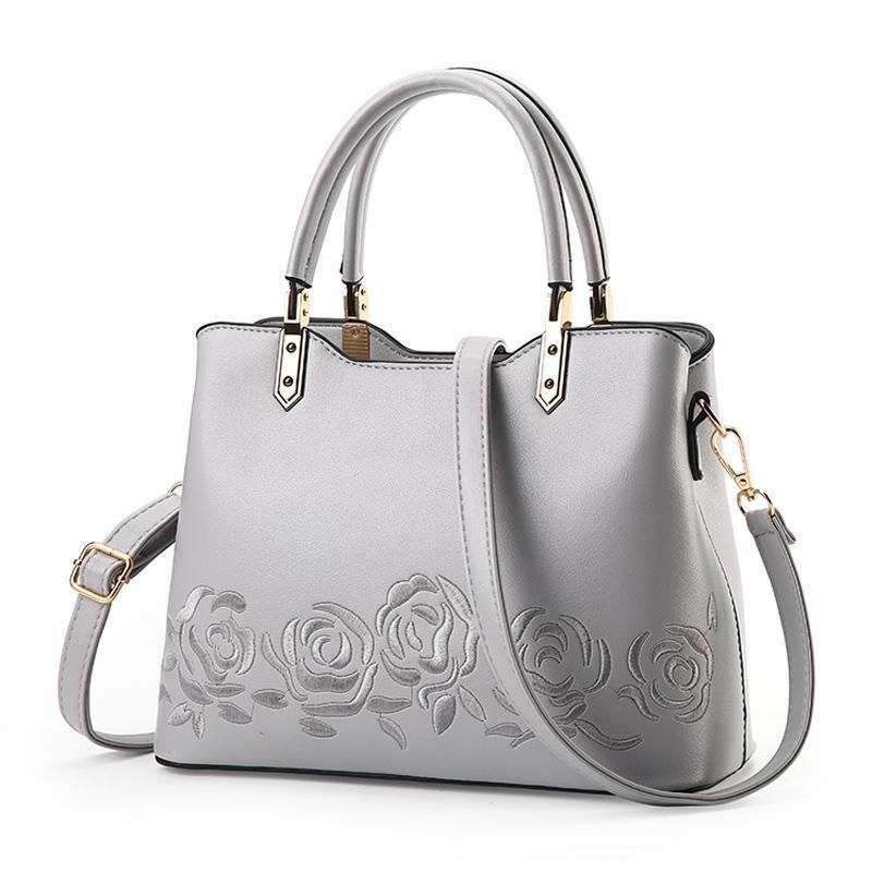 Women Premium Quality Faux Leather Tote Messenger Crossbody Bag With Flower Embroidery