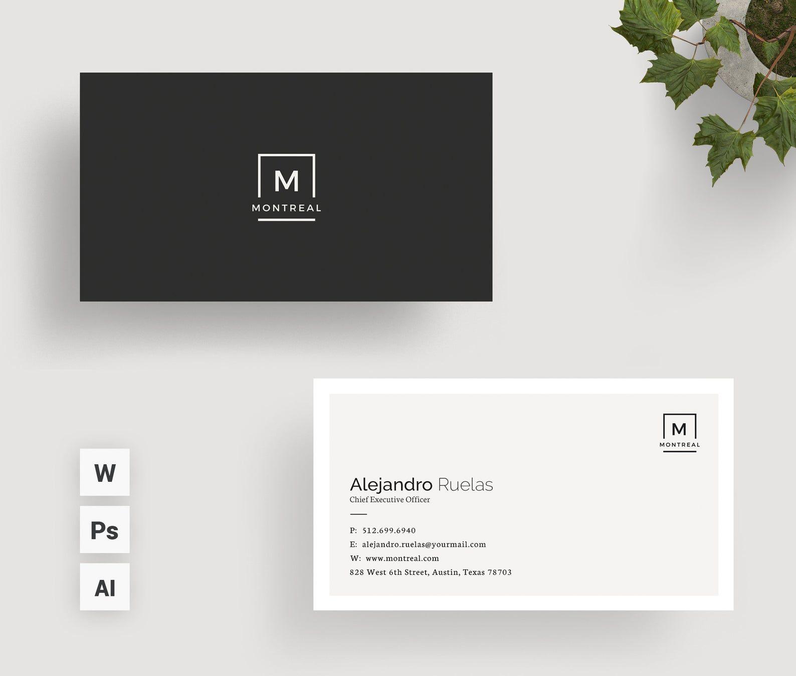 Clean Business Card Simple Minimal Easy Editable Ms Word Etsy Business Card Design Simple Business Card Design Minimal Cleaning Business Cards