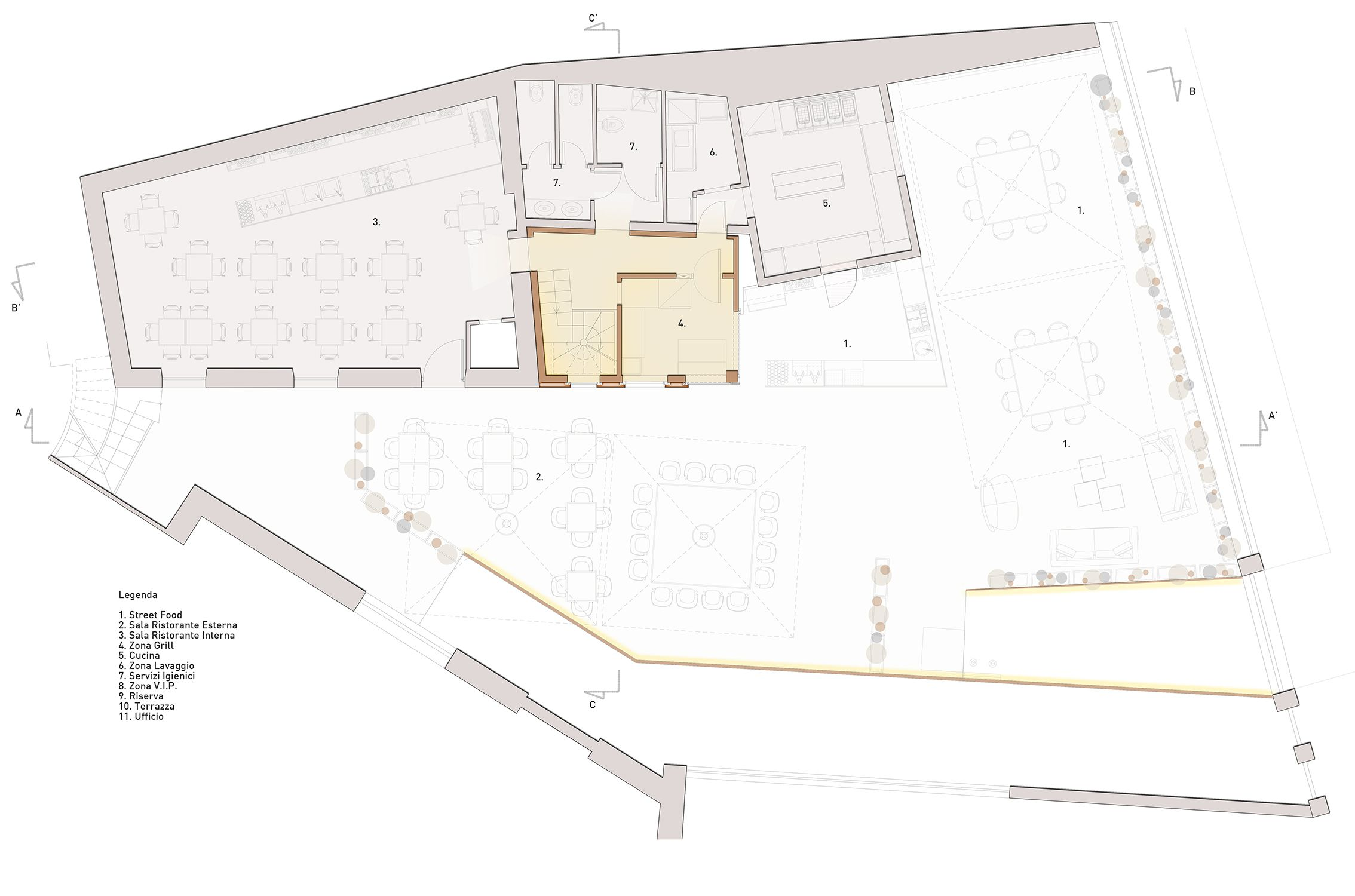 Ristorante Macello: Progetto pianta del piano terra con la Torretta ...
