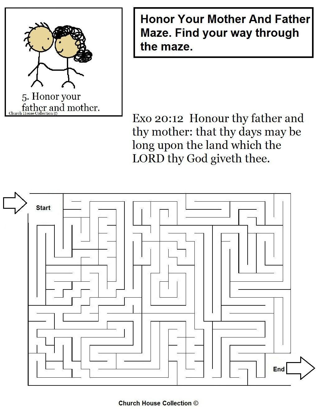 Honor Thy Mother And Father Ten Commandments Maze Jpg 1 019 1 319