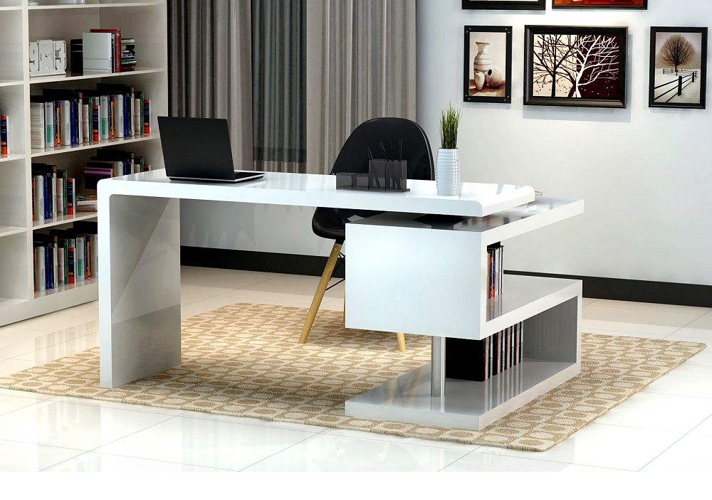 White Glossy Finished Office Desk With S Shaped Bookcase Modern
