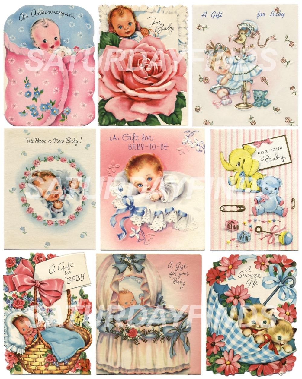 vintage greeting card baby shower small cards no 5 of 5 vintage greeting cards digital collage sheets e mailed directly to you 325 via etsy
