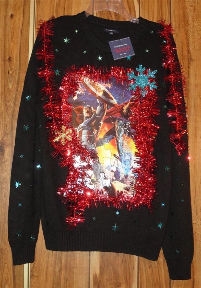 nwt men s ugly christmas sweater embellished marvel comics croft barrow sz med now 19 87
