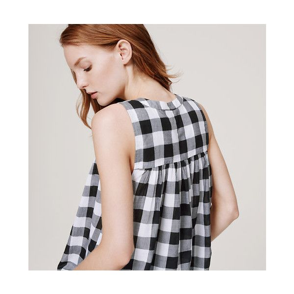 LOFT Gingham Swing Shell (£32) ❤ liked on Polyvore