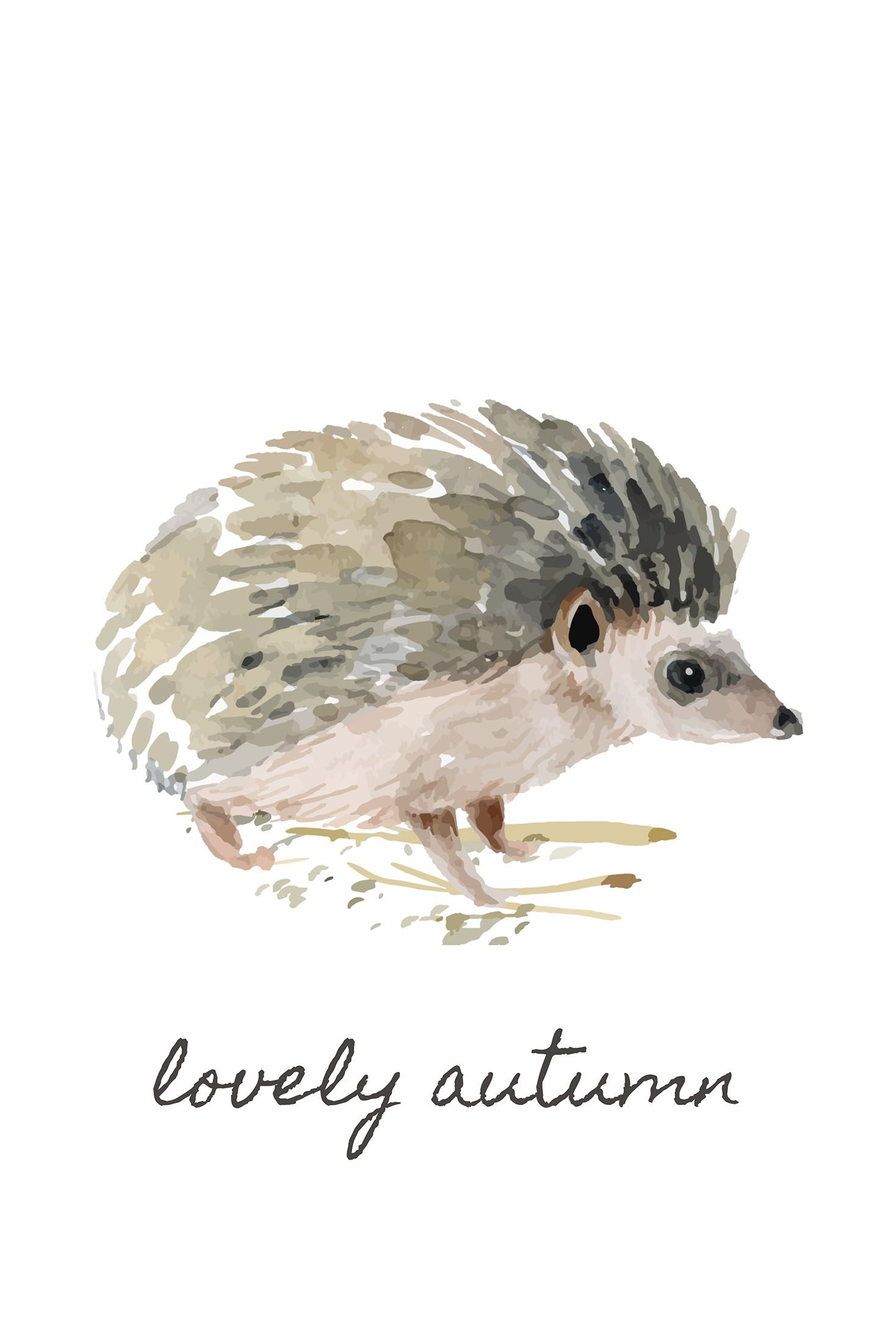 Free Printable Watercolour Fall Animals Wall Art Hedgehog Art
