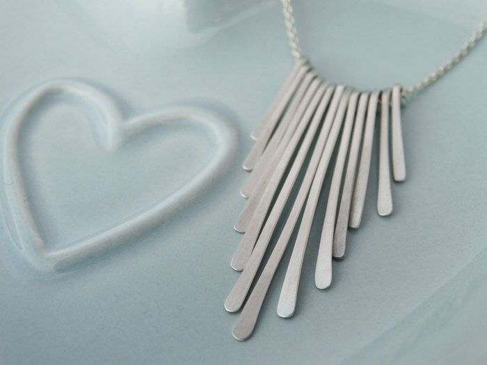 Delicate Sterling Silver Fringe Necklace by tinysilver on Etsy https://www.etsy.com/listing/252822310/delicate-sterling-silver-fringe-necklace