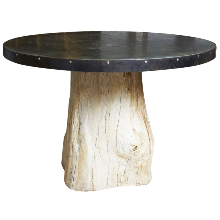 Zinc Top Table On Stump Base 21st C From A Unique Collection Of Antique And Modern Industrial And Work Tables At Http Www 1stdibs Com Fur Zinc Table Table