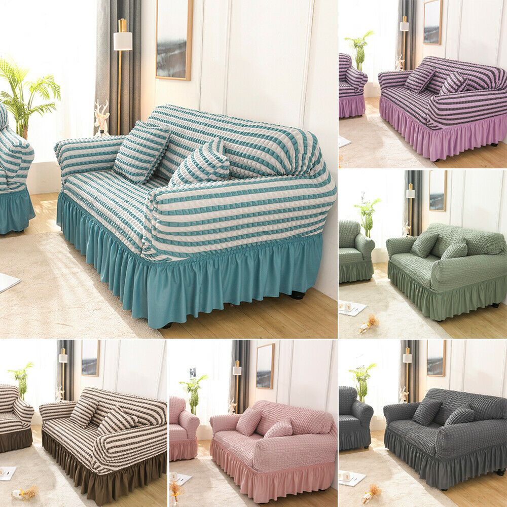 L Shaped Sofa Cover Ruffle Wrap Elastic Protector Towel Slipcover Cover 1 4 Seat Ebay In 2020 Couch Covers Slipcovers Modern Grey Sofa Sofa Covers