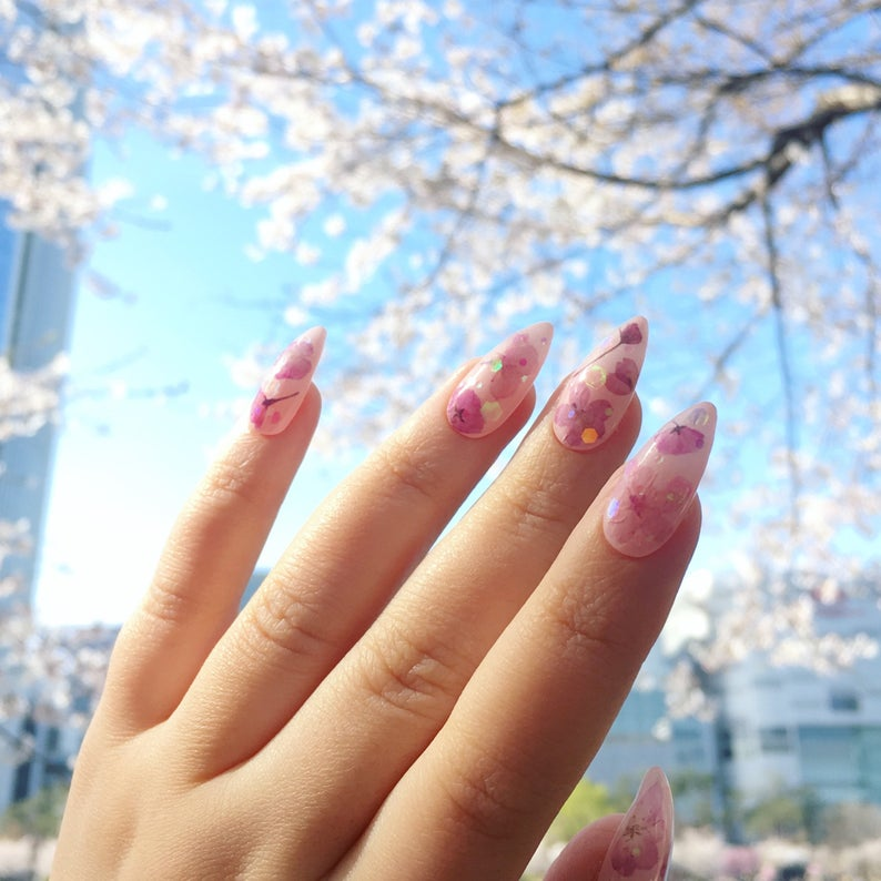 Reusable Pressed Dried Cherry Blossom Sakura Flowers Press On Nails With Holographic Sequins Cherry Blossom Nails Press On Nails Nails
