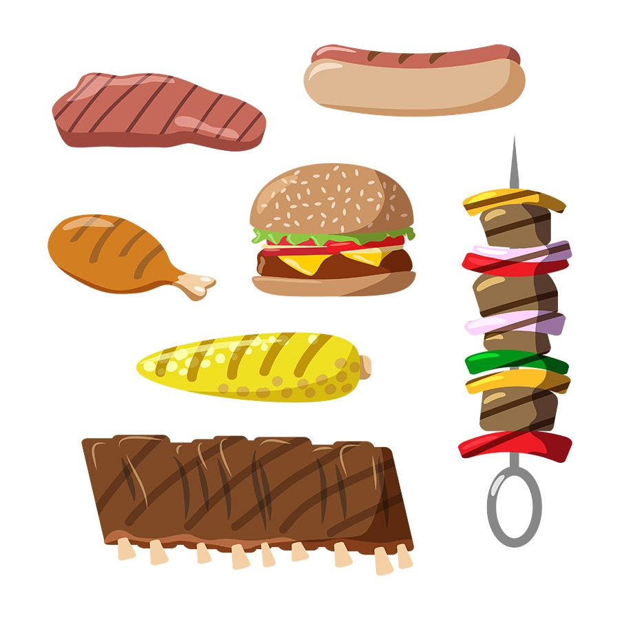 Grilled Food Vector Clipart- 7 Clip