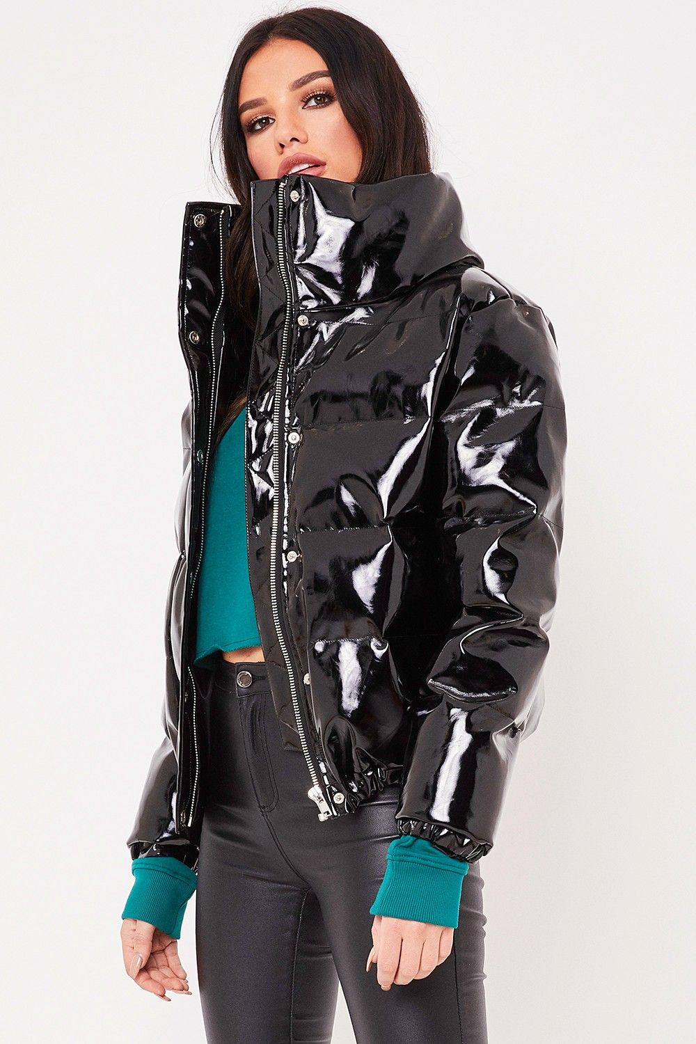 leah black high shine vinyl puffer jacket f dia tv pinterest