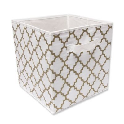 10 5 Inch Foldable Storage Cube In White Gold Athena Cube Storage Storage Bins Baskets Storage Bins