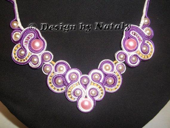 OOAK Soutache Jewelry Necklace Pearl Beads by DesignByNataly, $40.00