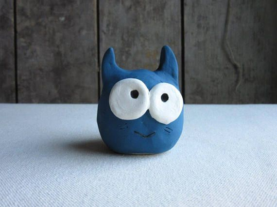 Funny Fat CatCeramic Pottery Stoneware Blue Cat