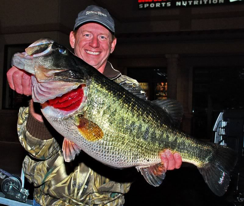 Lake austin record black bass look at those bright red for Best bass fishing near me