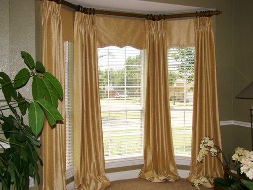 Bay Window With Drapery And Inserted Valances Bay Window