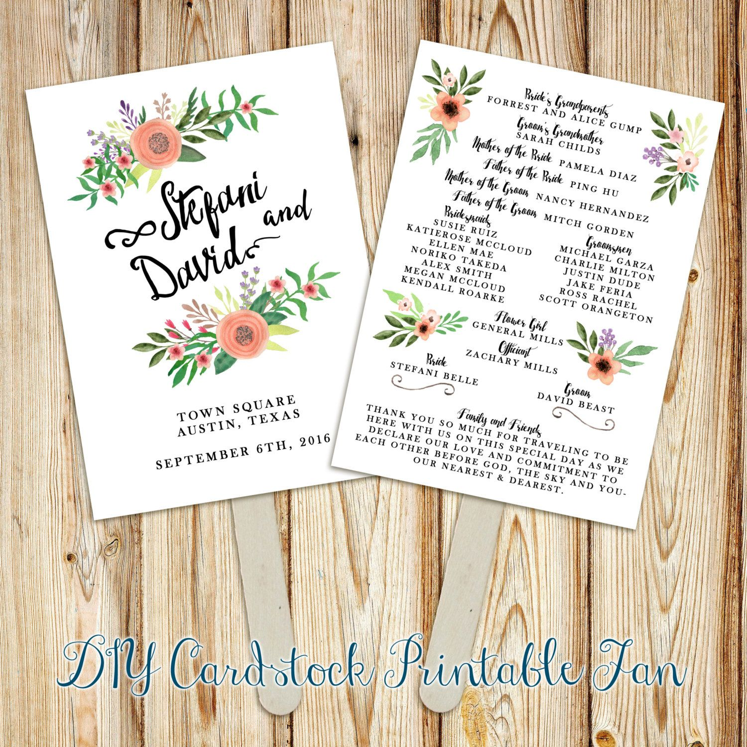 Printable Wedding Program Fan Digital File Double Sided