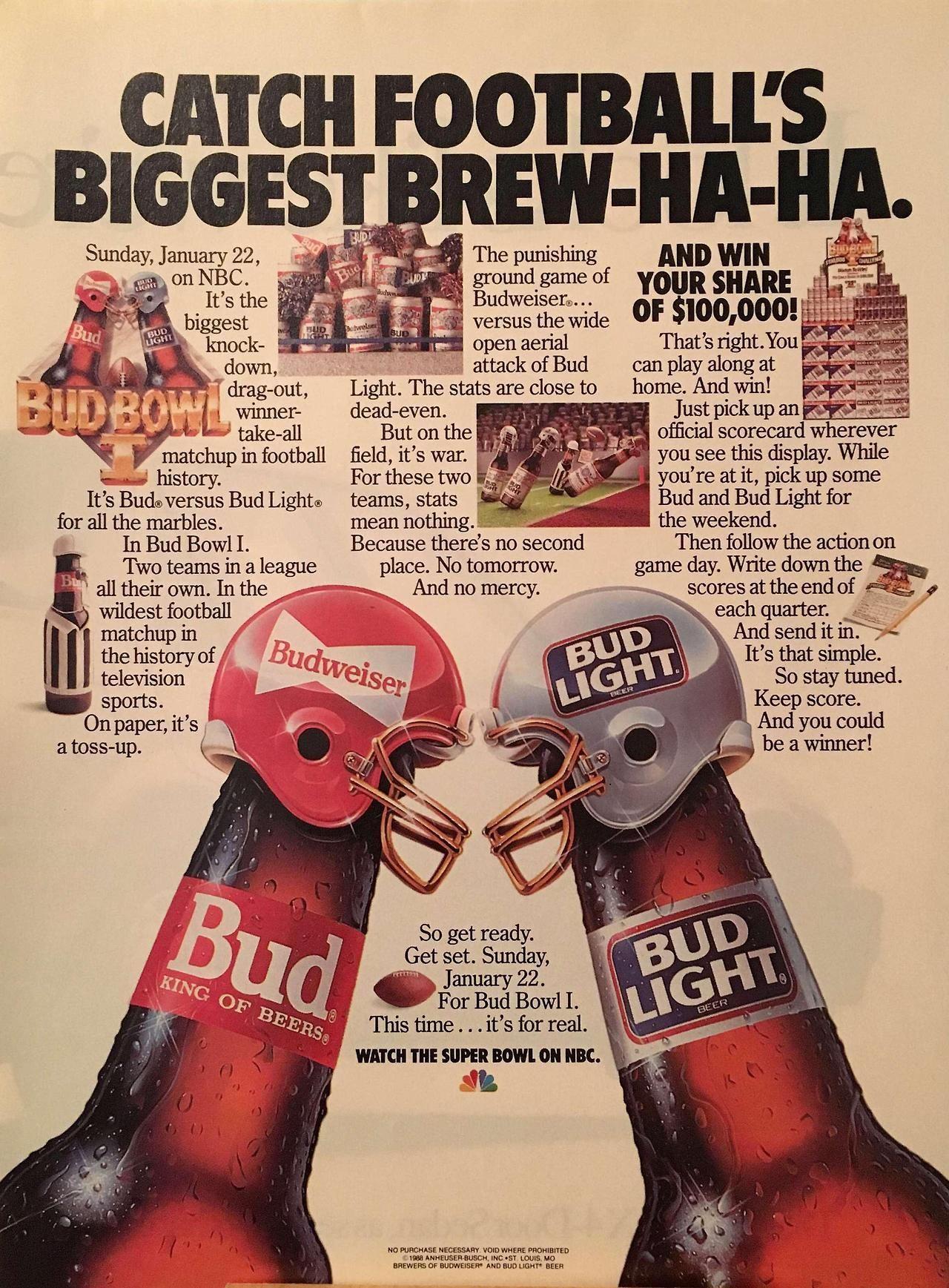 Bud Bowl I 1988 Bud Light Alcohol Marketing Bud