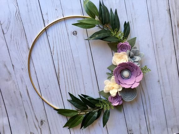 Photo of Gold Hoop Wreath, Felt Flower Gold Hoop Wreath, Nursery Decor, Spring Wreath