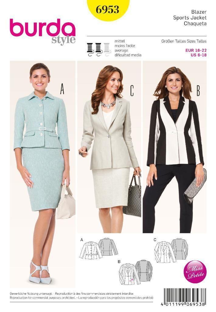 Burda Patrón DE Costura DE Mujer UNA Dama Peplo Chaquetas Talla 6 18 ...