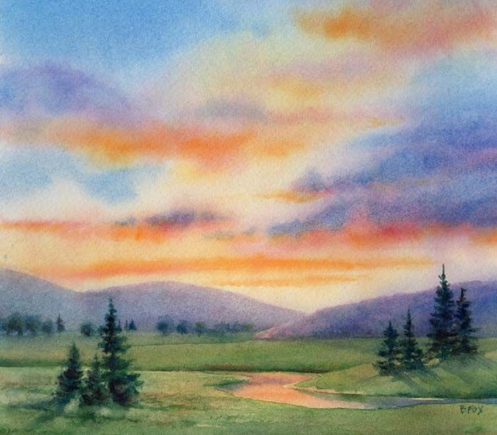 Easy Watercolor Paintings Daily EVENING BLESSING SOLD Landscape Painting