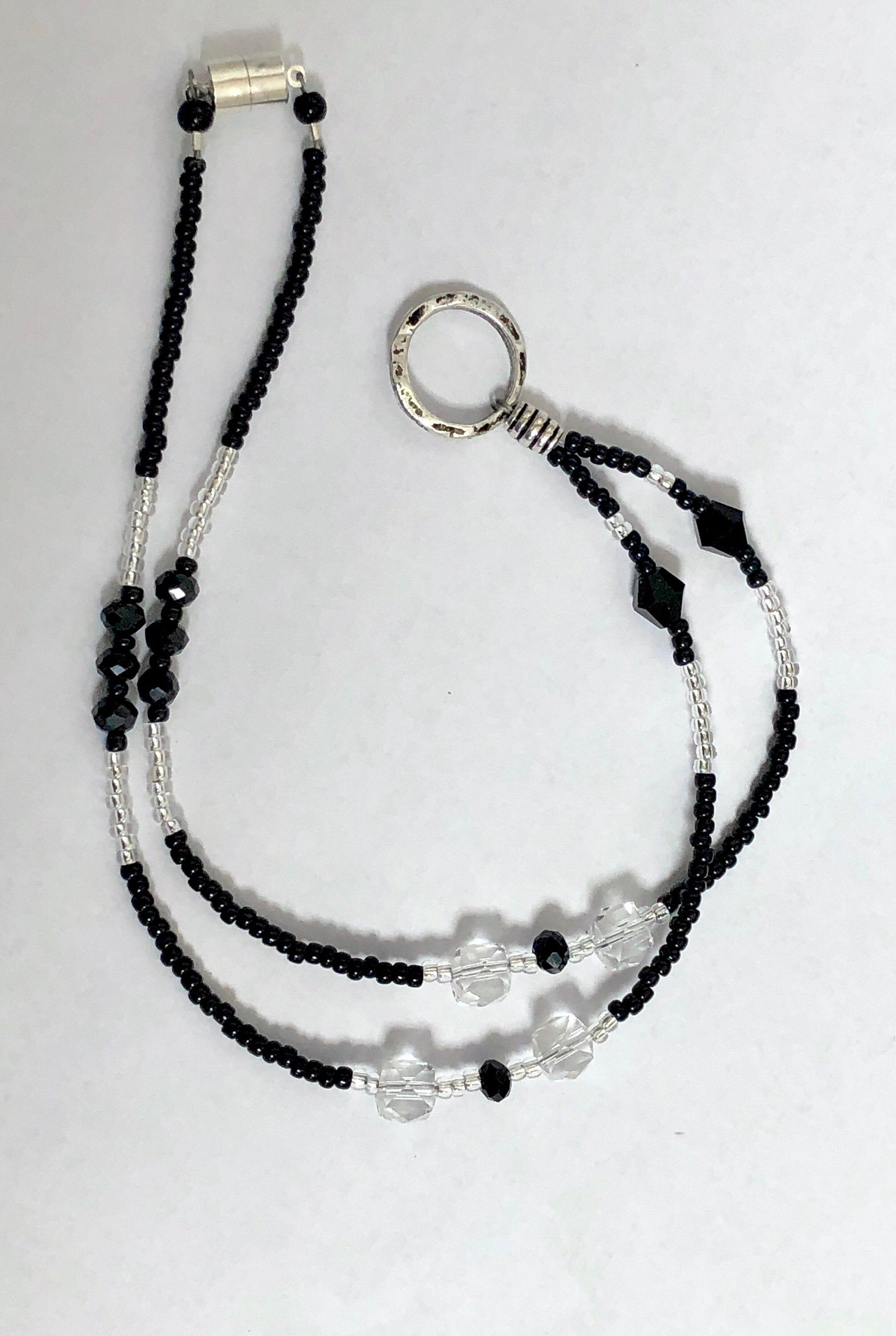 Faux Pearls Bead ID Badge Holder Lanyard Necklace with Magnetic Breakaway Clasp