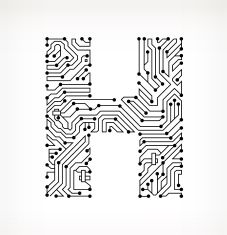 Letter H Circuit Board on White Background vector art