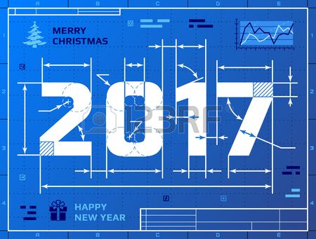 Card of new year 2017 as blueprint drawing stylized drafting of 2017 card of new year 2017 as blueprint drawing stylized drafting of 2017 on blueprint paper illustration malvernweather Choice Image