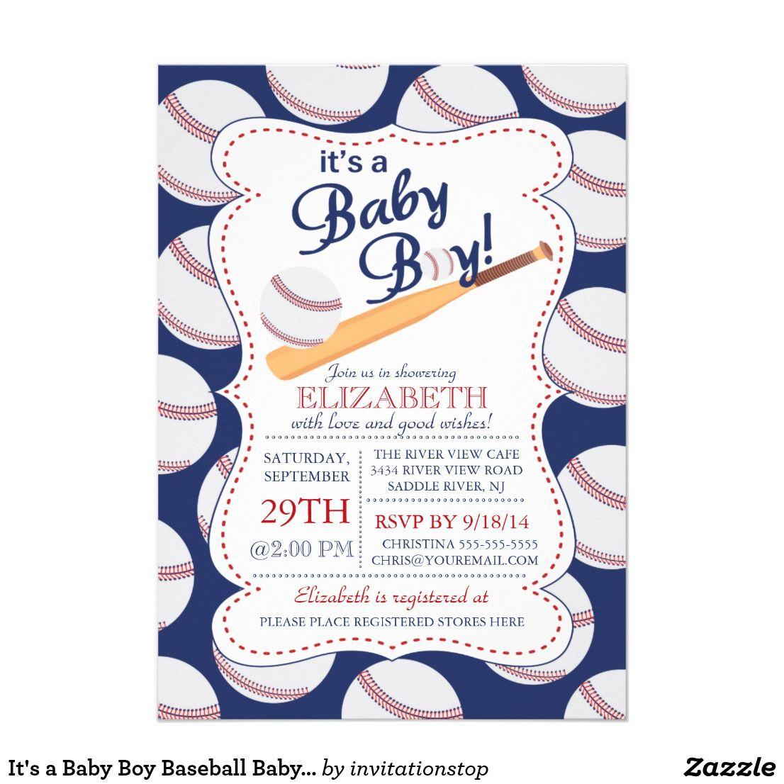 It\'s a Baby Boy Baseball Baby Shower Card