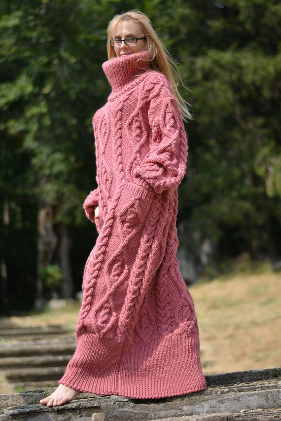 READY handmade wool dress hand knitted Cowl neck dress handknit ...