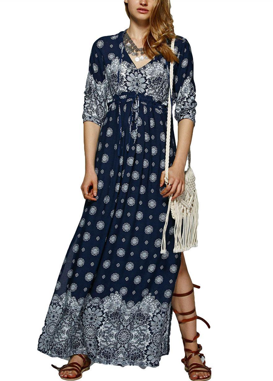 3de856c745 High Waist Elegant Bohemian Long Dress With Slit_Maxi ...