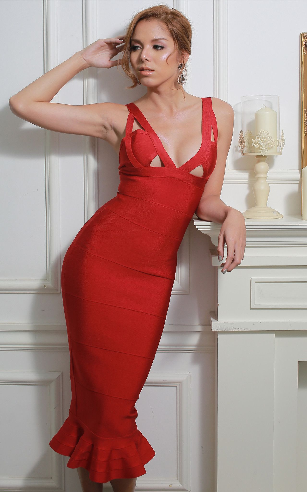86434414ee62 Beautiful Red Mermaid Bandage Dress