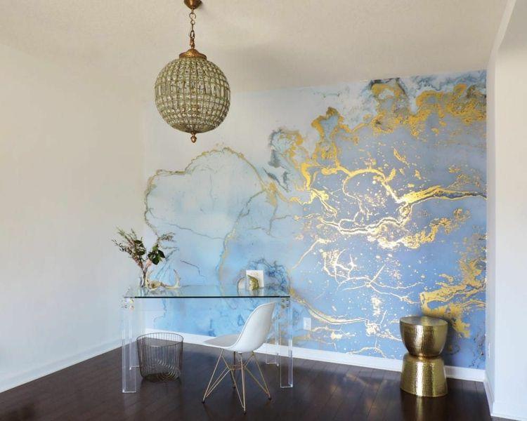deko trends arbeitszimmer wandgestaltung marmor fototapete glastisch walls in 2019