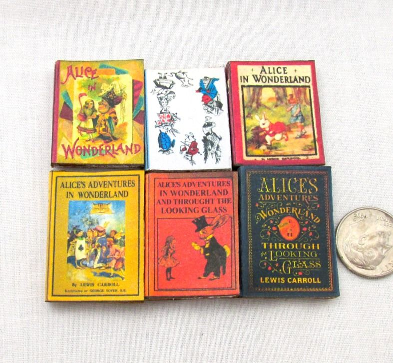 1:6 Scale ALICE IN WONDERLAND Set of 6 Prop Books Miniature Play Scale Book #LittleTHINGSofInterest