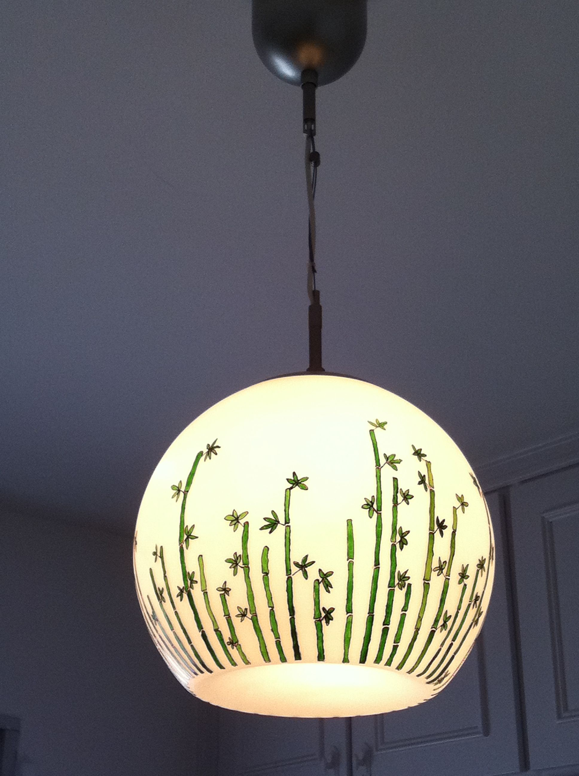 techopintado bambu diseño con de Lampara Cristal un de de hQdCrts
