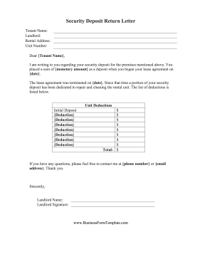 This free, printable security deposit return letter is from a