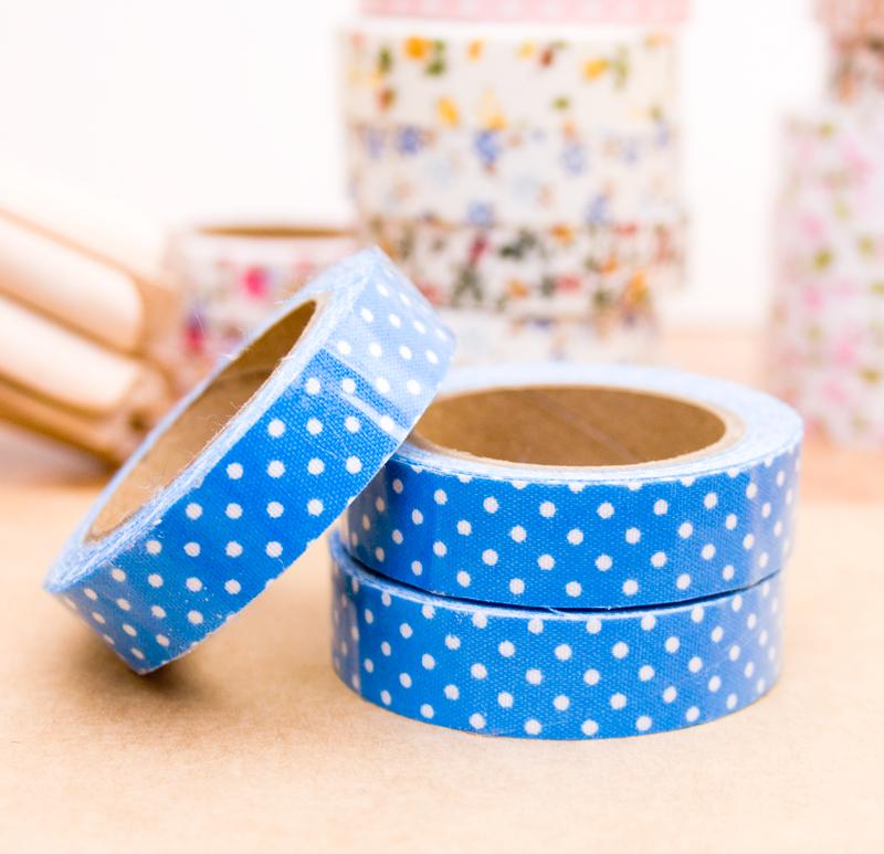 Preciosa Cinta De Tela Adhesiva O Fabric Tape En Color Azul Y Lunares Blancos Para Decorar Tus Packagings T Cinta De Tela Disenos De Unas Decoración De Fiesta