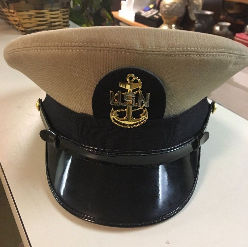 66205f18294 US Navy Chief Petty Officer Dress Cap Visor Hat USN Anchor Badge Uniform  Naval