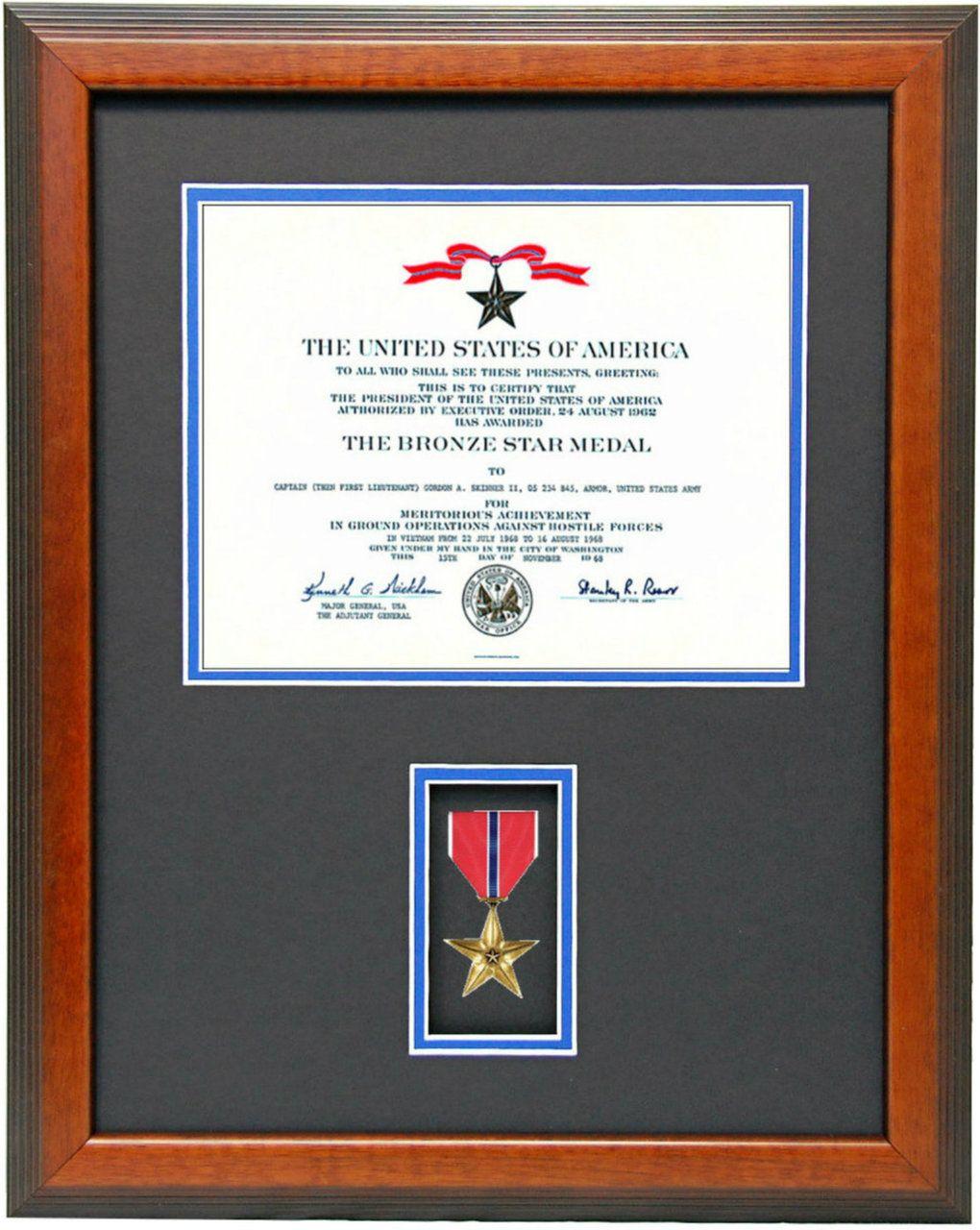 Bronze Star Certificate Frame Military Certificate