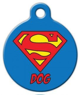 Dog Tag Art Custom Pet ID Tag for Dogs - Super Dog - Small - .875 inch ** Insider's special review you can't miss. Read more  : Dog tags for pets
