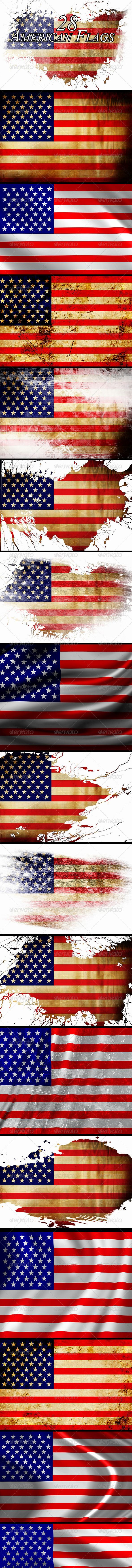 American Flag Horizontal Background Stock Vector
