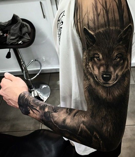 New Fox Head Full Sleeve Tattoo Ideas For Men With Images Forest Tattoos Wolf Tattoo Sleeve Wolf Tattoos