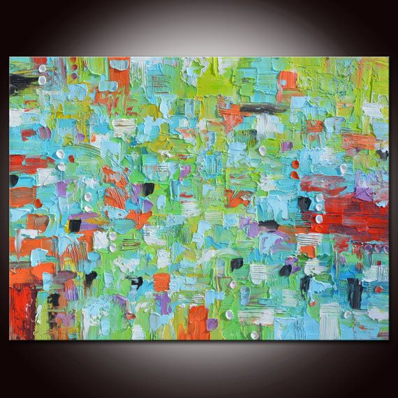 Large Abstract Painting, Blue Green Art, Rainbow Painting, Ready to hang,Abstract painting,Large Abstract, Red Green Painting,BluePainting,