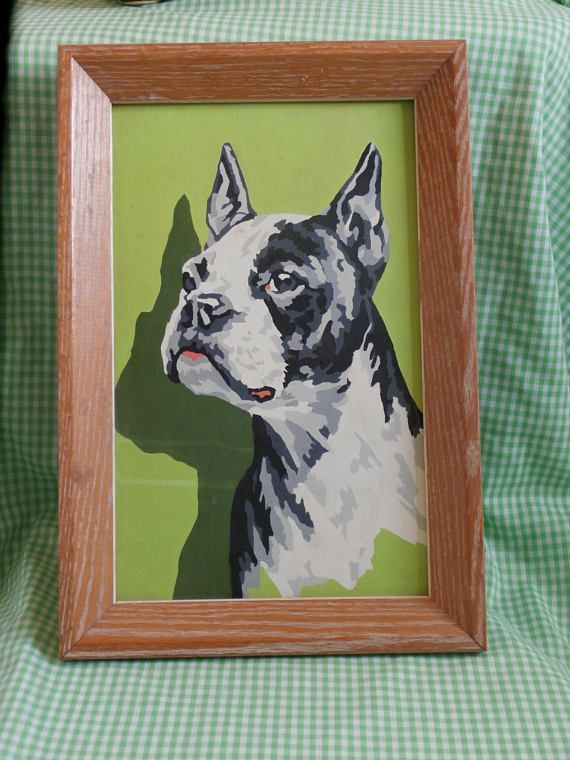 Mid Century Boston Terrier Paint By Numbers Painting Dog Pbn